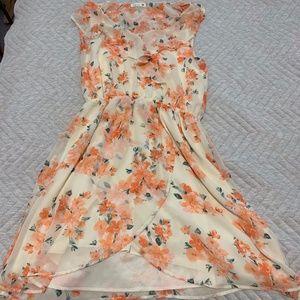 Soprano Breezy Floral Lined Faux Wrap Dress M